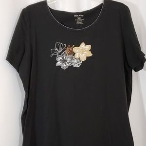 White Stag Black Embroidered Floral Butterfly Top